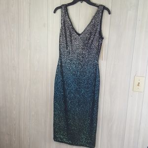 NWT Ombre Green to Silver Sequin Dress Sz 2